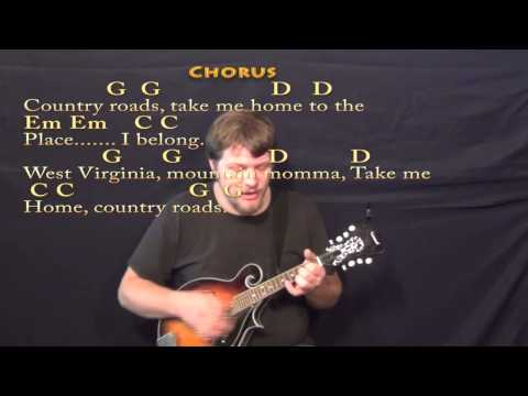 Country Roads Mandolin Cover Lesson With Chordslyrics Chords