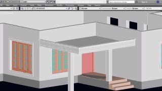 AUTOCAD 3D HOUSE   PART5 -  CAR PORCH | AUTOCAD PORCH | 3D CAR PORCH