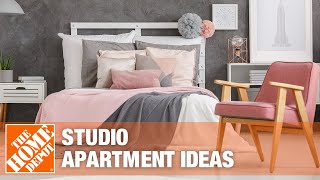 A video details ideas for decorating a studio apartment.