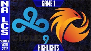 Cloud9 vs Phoenix1 Highlights Game 1 Week 7 NA LCS Highlights Summer 2017 C9 vs P1 G1