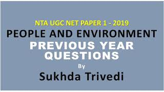 Environment previous year questions paper 1 NTA UGC NET 2019