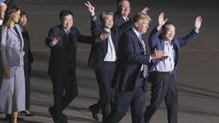 Three Americans freed from North Korea return to U.S.