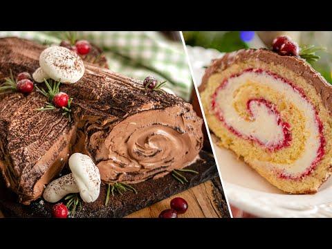 Новогодний торт РОЖДЕСТВЕНСКОЕ ПОЛЕНО | бисквитный рулет Bûche de Noël | десерт Yule Log