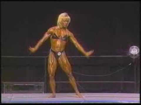 Muscular blond woman