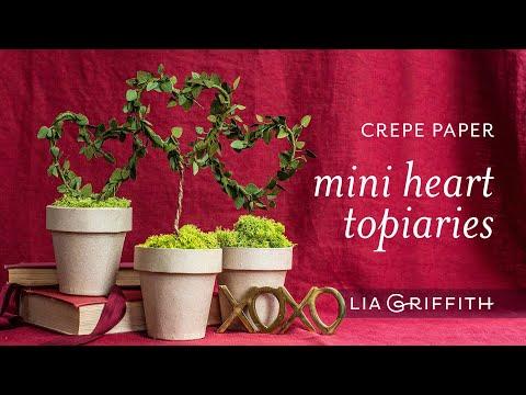 Crepe Paper Mini Heart Topiaries