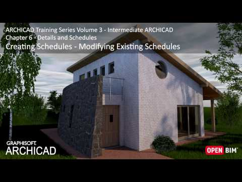 Creating Schedules – Modifying Existing Schedules - ARCHICAD Training Series 3 – 36/52