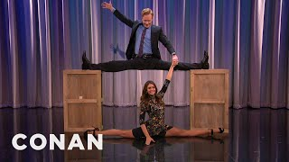 Nina Dobrev & Conan Do The Splits Together    CONAN On TBS