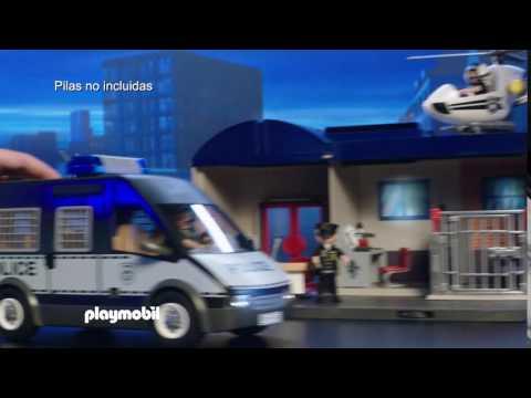 PLAYMOBIL – Furgón, Helicóptero y Comisaría de Policía Maletín (español)