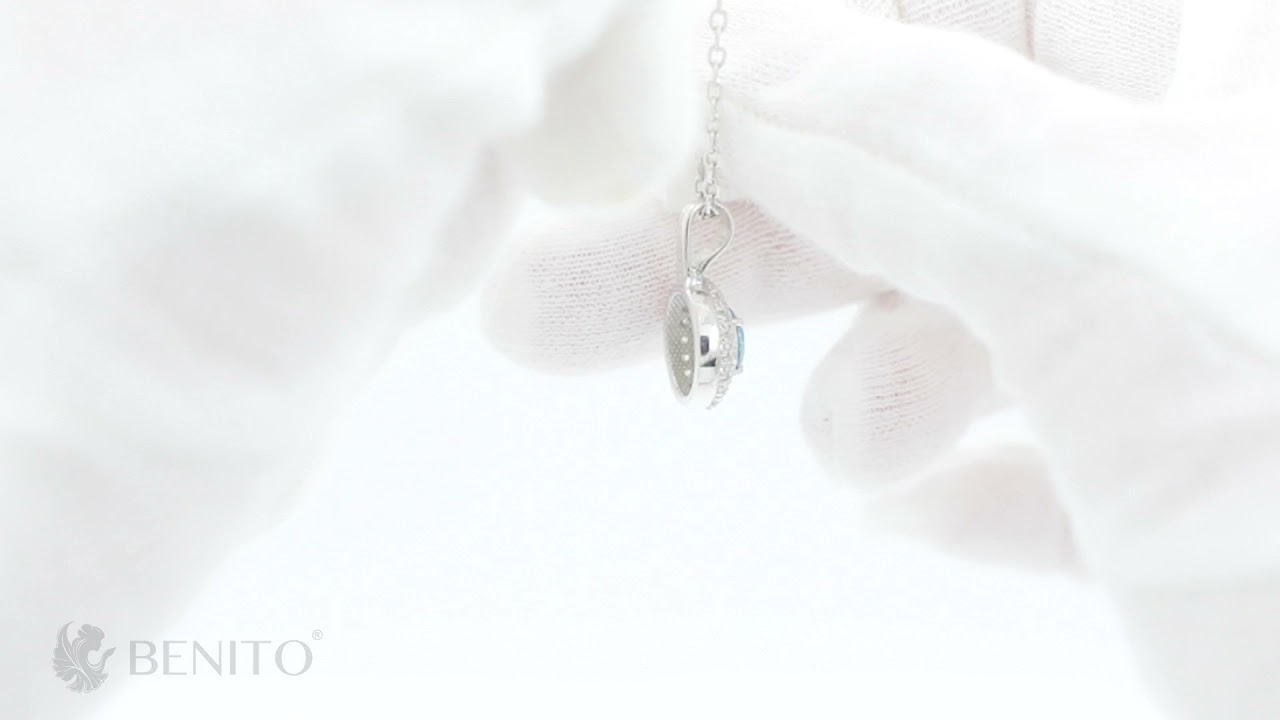 Laura Pendant Teal and White Zircon Stones
