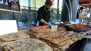 Food from Morocco, Msemen Flat Bread and More. Seen in London. World Street Food