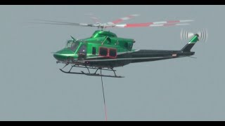 Bell 412 Takeoff with Fire Bucket Long Line.