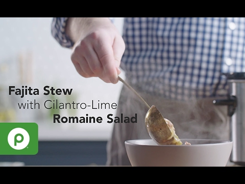 Slow Cooker Fajita Stew with Cilantro-Lime Romaine Salad. A Publix Aprons recipe.