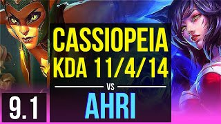 CASSIOPEIA vs AHRI (MID) | 2 early solo kills, KDA 11/4/14, Godlike | BR Challenger | v9.1