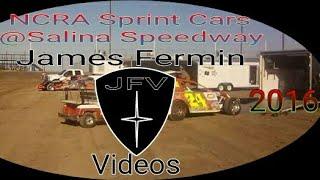 NCRA Sprint Cars #11, Four Wide Salute, Salina Speedway, 2016