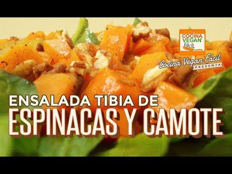 Ensalada tibia de espinaca con camote (boniato, batata o patata dulce)  -  Cocina Vegan Fácil