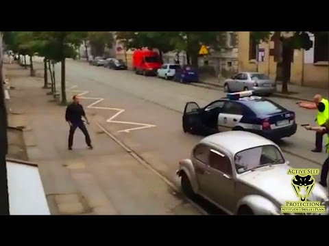 Polish Police Take Down Man Wielding Hammer and Crowbar   Active Self Protection