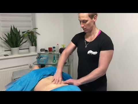 Массаж живота после родов. massage of the abdomen. photo