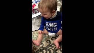 Cute Baby Opens Birthday Gifts and Gets a Busy Beaver!
