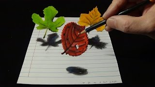 Three Leaves, 3D Drawing on Lined Paper, Tricky Art
