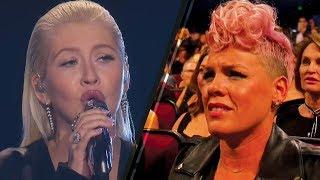 Christina Aguilera's Whitney Houston Tribute Makes Pink CRINGE! | 2017 AMAs