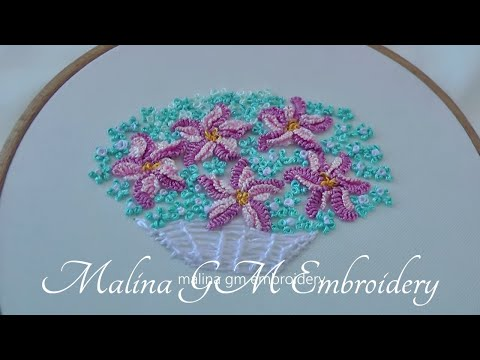 Dimensional Embroidery | basket flowers | easy stitche| cast-on stitch