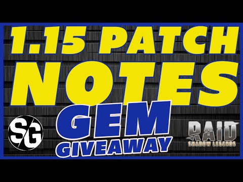 RAID SHADOW LEGENDS | 1.15 PATCH & GEM GIVEAWAY! FREE GEMS, WUT! FOR FIVE LUCKY PLAYERS