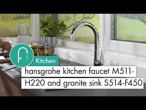 hansgrohe Kitchen mixer M511 - H220 and granite sink with drainer stone grey