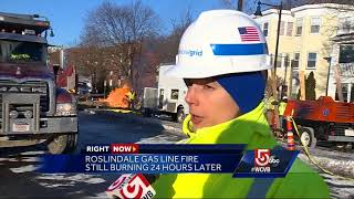 Boston gas line fire stlll burns 24 hours later