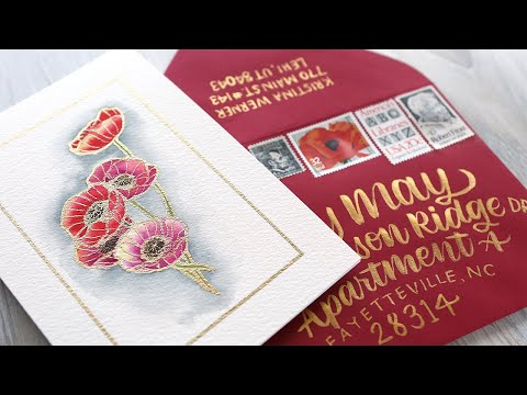 Watercolor Poppies & Brush Lettered Envelope