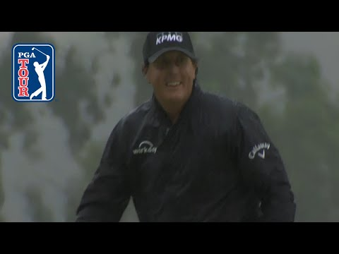 Phil Mickelson opens with a bunker hole-out at Genesis Open 2019