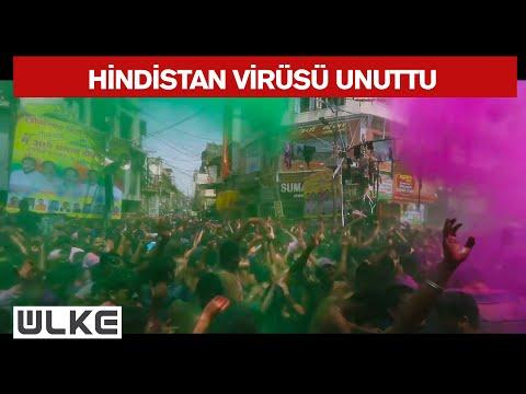 Hindistan'da Holi Festivali, Kovid 19 salgınına rağmen geniş katılımla kutlandı