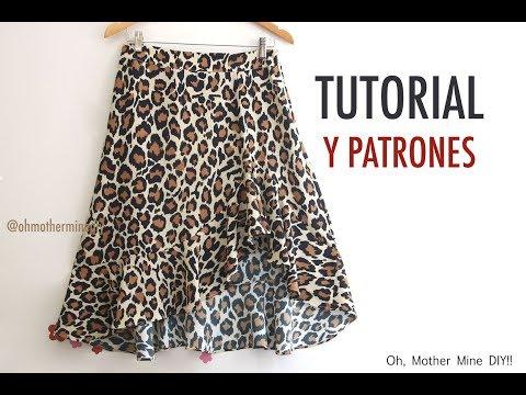 Aprender a coser: Falda asimétrica con volante (patrones gratis)