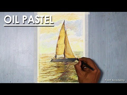 Boat in the Sea- Oil Pastel Drawing | Learn how to draw reflection in the water