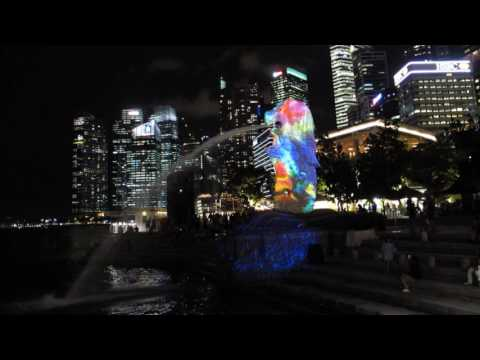 Panasonic's PT-RZ31K Projection mapping of the Merlion