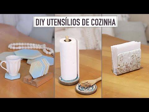 DIY Utensílios de Cozinha   Porta copos, Descanso de Panela, Porta Papel Toalha & Descanso de Colhe