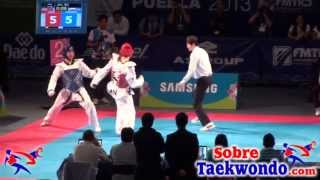 Aaron Cook vs Piotr Paziński  80 kg 2013 World Taekwondo fragments)