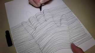 How to Draw 3D Hand Print doodle with  Relaxation Drawing Technique