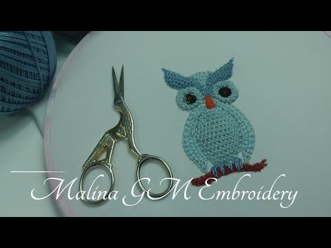 3D Embroidery | How to embroider an owl | detached stitch | Buttonhole Filling