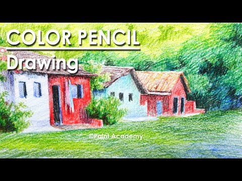 Color Pencil Drawing : Drawing Houses into the Grove | step by step shading processes