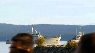 Navy Ship Fires Cannons in Powell River in conjunction with Tchaikovsky's - Overture 1812