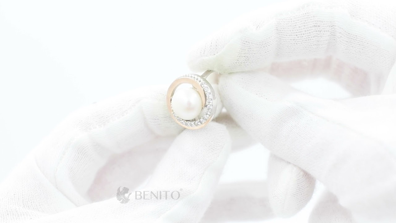 Margherita Ring Pearl and White Zircon Stones