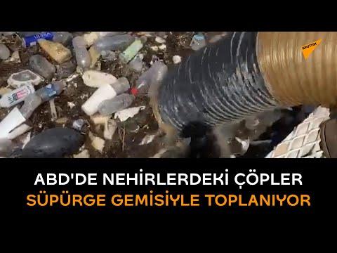 ABD'de nehirlerdeki çöpler süpürge gemisiyle toplanıyor