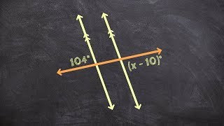 Solving for x using two parallel lines and a transversal - Free Math Videos