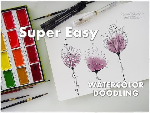Watercolor Doodles For Beginners Very Easy Process ♡ Maremi's Small Art ♡