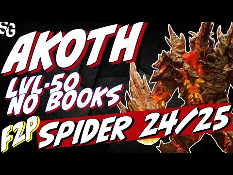 Akoth lvl50 no books F2P Spider 24/25 2min runs. Raid Shadow Legends