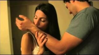 Female vampire bites her boyfriend