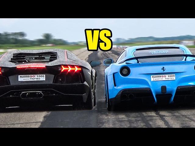 Ferrari F12 Berlinetta VS Lamborghini Aventador - REVS BATTLE🔥😱