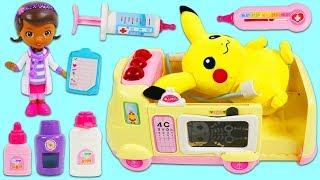 Pokemon PIKACHU Gets Sick and Visits Doc McStuffins Pet Vet Toy Hospital Ambulance! width=