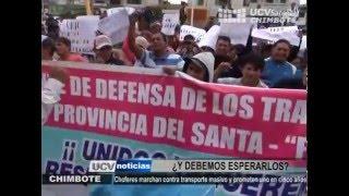 CHOFERES Y DIRIGENTES MARCHAN CONTRA IMPLEMENTACIÓN DE TRANSPORTE MASIVO EN CHIMBOTE