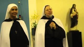 Irmã Kelly Patrícia falando um oi na  Paróquia NSra Aparecida do Grajaú